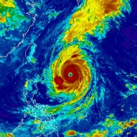 NOAA infrared satellite image of Super Typhoon Trami.