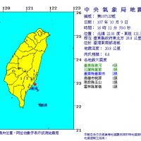 台東發生芮氏規模4.4地震