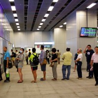 Passengers line up to buy tickets at new TRA Kaohsiung Station