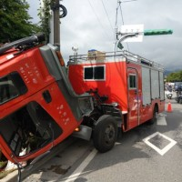 Flipped over cabin. (Photo from Taipei City Fire Department)