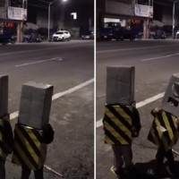 Video shows 2 Taiwanese kids dressed as traffic cameras for Halloween