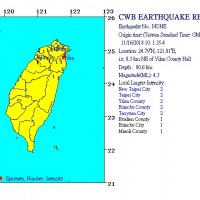 Magnitude 4.3 earthquake jolts NE Taiwan, tremors felt in Taipei
