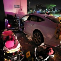 Driver killed after NT$3 million Audi crashes into pillar in western Taiwan