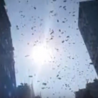 Money rains from the sky in Hong Kong neighborhood