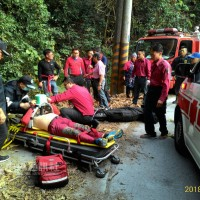 Man receiving treatment (left). (Pingtung Fire Department photo)