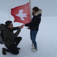 Photo of the Day: Taiwanese fireman proposes to policewoman in Swiss Alps