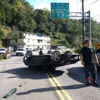 Porsche overturns on Taiwan road, two women out of danger