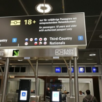 Taiwan flag covered up on EasyPass signboard at Frankfurt Airport