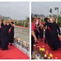 Video shows Taiwanese Buddhist master twirl 150 times before vomiting