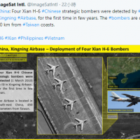 China stations 4 bombers 450 km from Taiwan