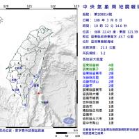 【緊急地震快報】台東發生芮氏規模5.2地震
