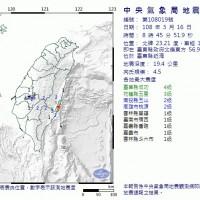 台東地牛翻身芮氏規模4.5 最大震度台東4級