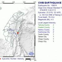 Magnitude 4.5 earthquake rattles eastern Taiwan