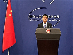 美國於美東時間6日啟動對中國價值340億美元的商品加 徵關稅。中國外交部發言人陸慷當天下午表示,中國對 美同價值商品加徵關稅已經生效。 中央社記者繆宗翰北京攝 107年7月6日