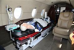 澎湖、金門及馬祖3離島駐地救護航空器8日正式啟用, 金門部分將由型號為Hawker 400XP的噴射機進駐,機上 配備各式急救、維生設施,強化離島醫療後送能量。 中央社記者郭日曉攝 107年8月8日
