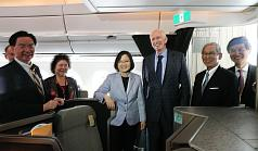 President Tsai Ing-wen is welcomed by AIT Chairman James Moriarty and Taiwan's representative to the U.S. Stanley Kao after landing in Los Angeles, U.S. on August 12