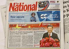 亞太經濟合作會議(APEC)12日起在巴布亞紐幾內亞登 場,當地發行量最大的報紙「國民報」(The National )14日頭版報導中國大陸國家主席習近平的新聞,圖說 部分誤植為「中華民國大使館提供」。 中央社記者裴禛莫士比港攝  107年11月14日