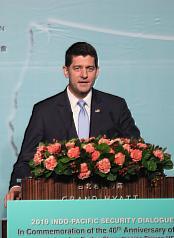 美國聯邦眾議院前議長萊恩(Paul Ryan)(圖)16日 在台北,出席「2019印太安全對話開幕典禮」。 中央社記者吳家昇攝  108年4月16日